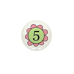 5 pink/green flower Mini Button