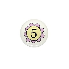 5 purple/yellow flower Mini Button