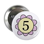 five purple/yellow flower Button