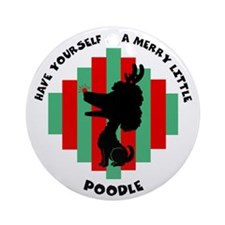 Poodle Christmas Ornament (Round)