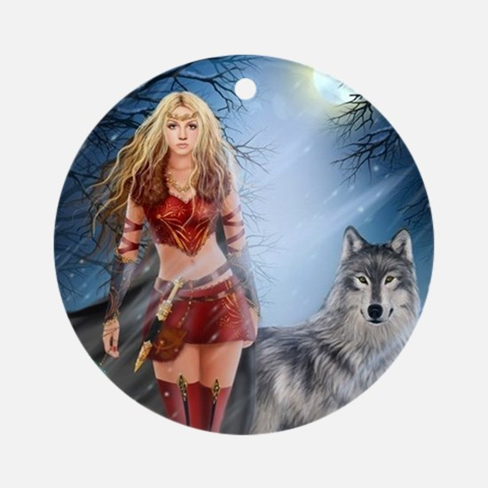 Warrior Woman and Wolf Round Ornament