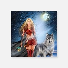 """Warrior Woman and Wolf Square Sticker 3"""" x 3"""""""