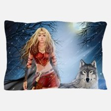 Warrior Woman and Wolf Pillow Case