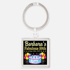 FABULOUS 50TH Square Keychain