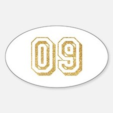Glitter Number 9 Sports Jersey Sticker (Oval)