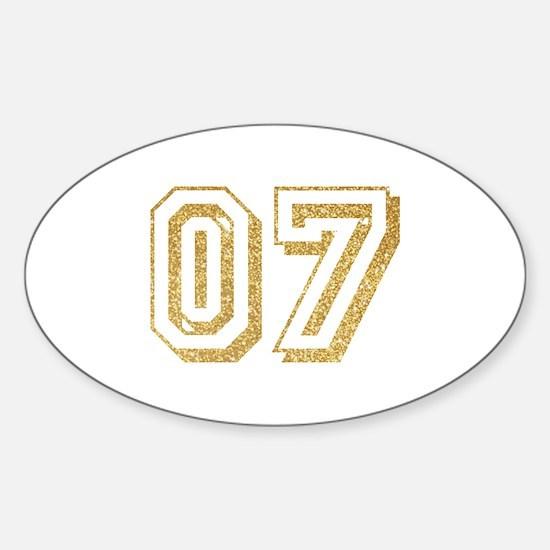 Glitter Number 7 Sports Jersey Sticker (Oval)