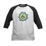 6 blue/green flower Kids Baseball Jersey