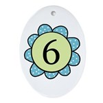 6 blue/green flower Oval Ornament