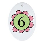 6 pink/green flower Oval Ornament