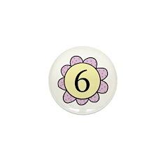 6 purple/yellow flower Mini Button