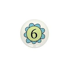 6 blue/green flower Mini Button