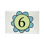 6 blue/green flower Rectangle Magnet