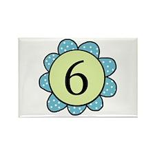 6 blue/green flower Rectangle Magnet