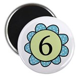 6 blue/green flower Magnet