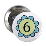6 blue/green flower Button