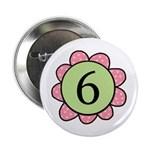 6 pink/green flower Button