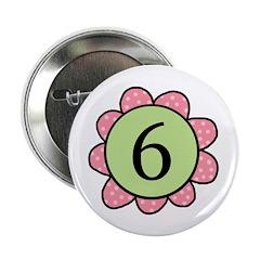 6 pink/green flower Button