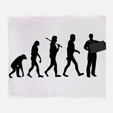 Accordion Player Evolution Throw Blanket