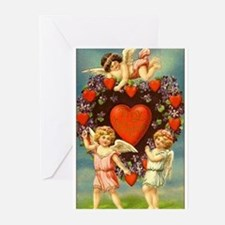 Vintage Valentine 3 Cupids And Red Greeting Cards