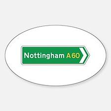 Nottingham Roadmarker, UK Oval Decal