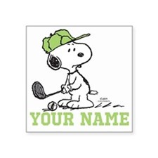 Snoopy Golf - Personalized Square Sticker 3