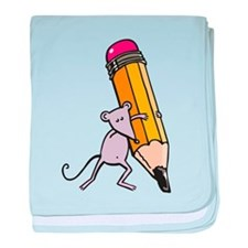 Mouse writing baby blanket