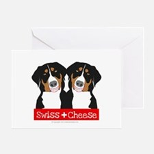 Swiss Cheese Swiss Mountain Dogs Greeting Cards