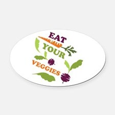 Eat You Veggies Oval Car Magnet