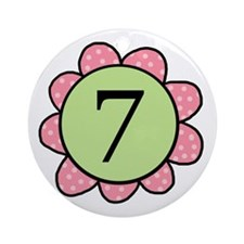 7 pink/green flower Ornament (Round)