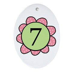 7 pink/green flower Oval Ornament