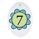 7 blue/green flower Oval Ornament