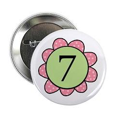 7 pink/green flower Button