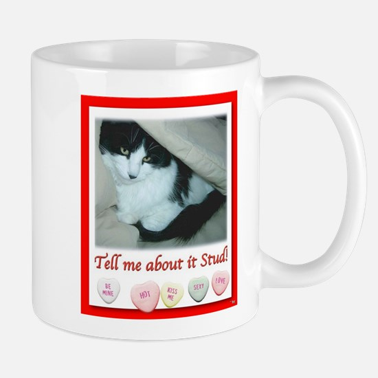 Valentine black and white cat Mugs