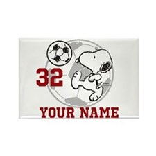 Snoopy Soccer - Personalized Rectangle Magnet
