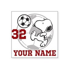 Snoopy Soccer - Personalize Square Sticker 3