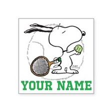 Snoopy Tennis - Personalize Square Sticker 3