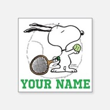 "Snoopy Tennis - Personalize Square Sticker 3"" x 3"""
