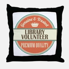 library volunteer vintage logo Throw Pillow