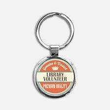 library volunteer vintage logo Round Keychain