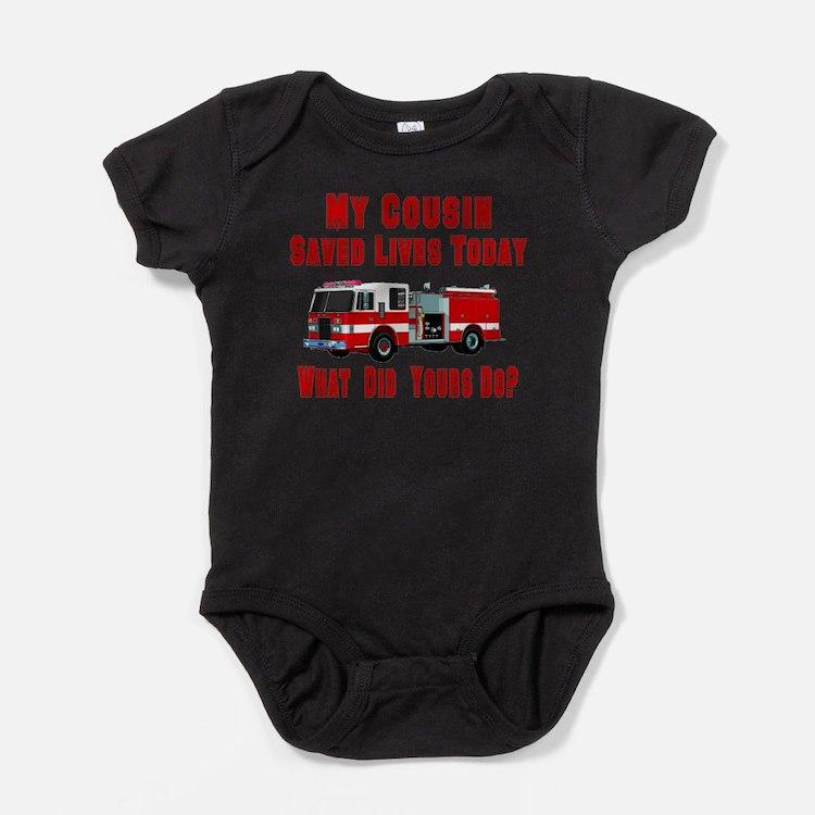 Cute Fireman cousin Baby Bodysuit