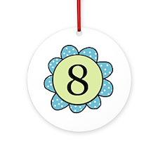 8 blue/green flower Ornament (Round)