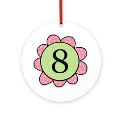 8 pink/green flower Ornament (Round)
