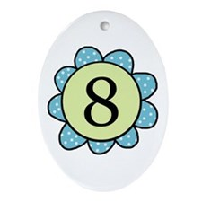 8 blue/green flower Oval Ornament