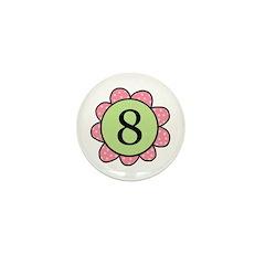 8 pink/green flower Mini Button