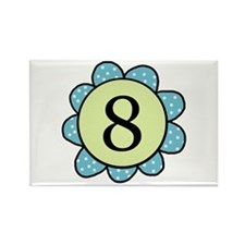 8 blue/green flower Rectangle Magnet