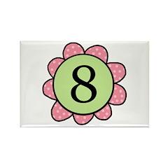 8 pink/green flower Rectangle Magnet