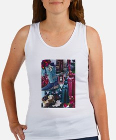 Wine and Silver Blue Tank Top