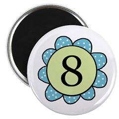 8 blue/green flower Magnet