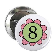 8 pink/green flower Button