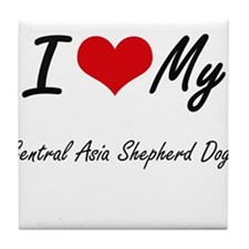 I Love my Central Asia Shepherd Dogs Tile Coaster